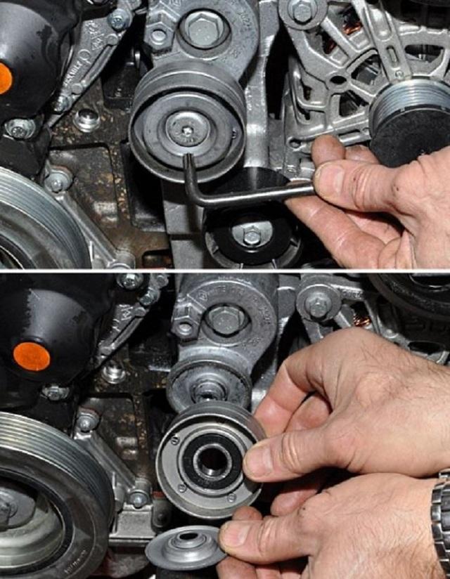 Как поменять ролик натяжителя ремня генератора
